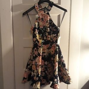 B.Darlin Fit & Flare Halter Floral Print Size 3/4